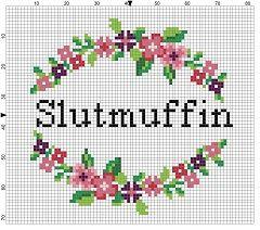 Slutmuffin -  Funny Dirty Mature Subversive Cross Stitch Pattern -