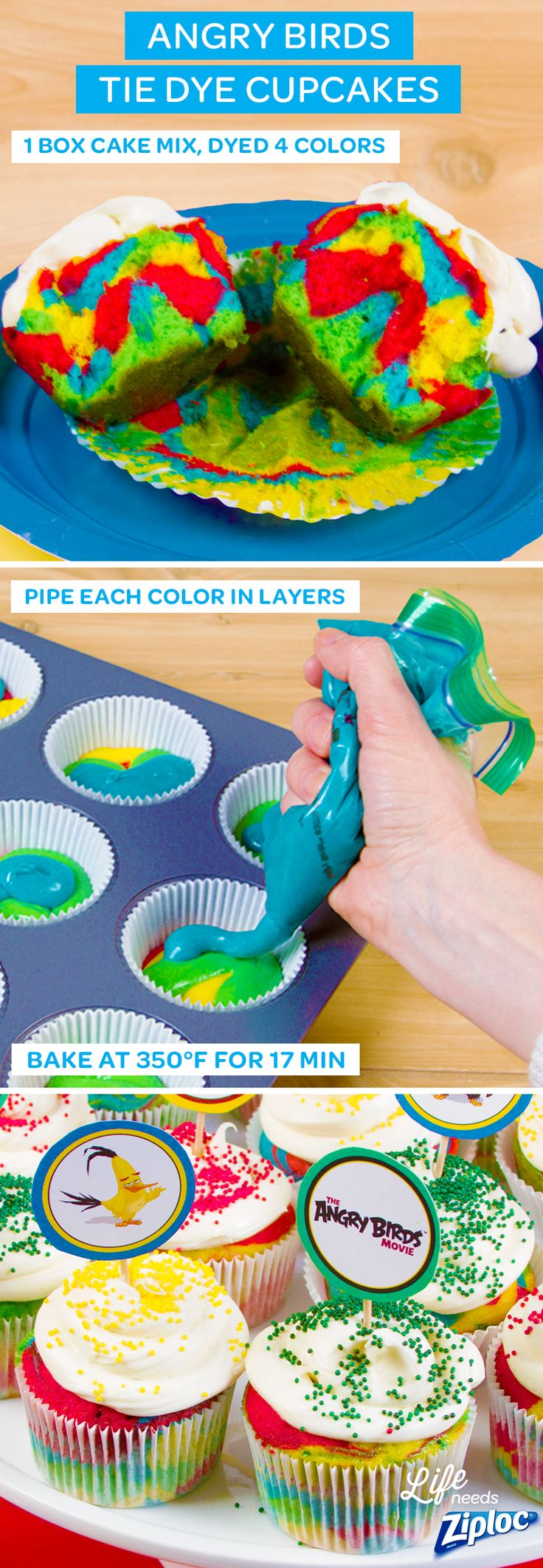 These fun cupcakes are so easy to make. Just mix 1 box of cake batter evenly into 4 different Ziploc® containers. Add food coloring to each bowl to make red, blue, yellow and green. Spoon the different colors of cake batter right inside of a Ziploc® bag. Pipe and layer each color into muffin tins. They're the perfect dessert for birthday or end-of-school parties. Just finish with frosting, sprinkles, and our Angry Birds cupcake toppers. See The Angry Birds Movie in theaters May 20th. ©2016…