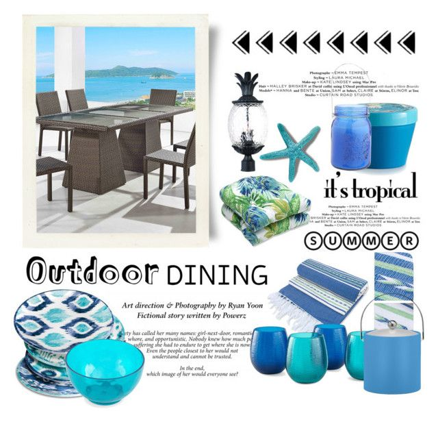 """Tropical Outdoor Dining"" by conch-lady on Polyvore featuring interior, interiors, interior design, home, home decor, interior decorating, NOVICA, Acclaim, Outdoor Oasis and Illume"