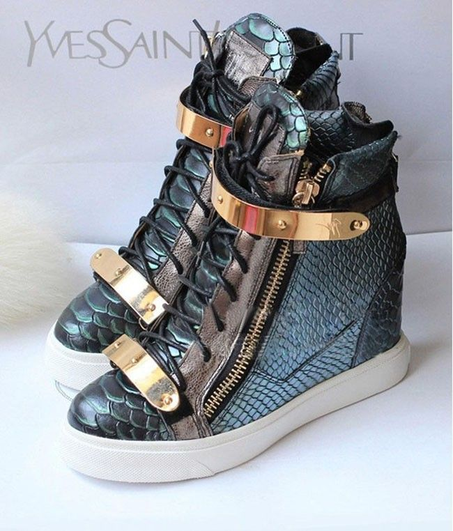 Green Color New released! Crocodile Genuine Leather Wedge Sneakers For Women, Giuseppe Shoes 2013, GZ Shoes,GZ Sneakers, Size40 $85.50