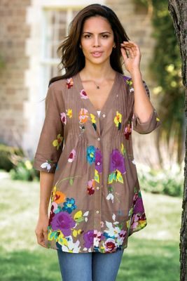 English Garden Shirt - Floral Shirt, Pintuck Shirt | Soft Surroundings