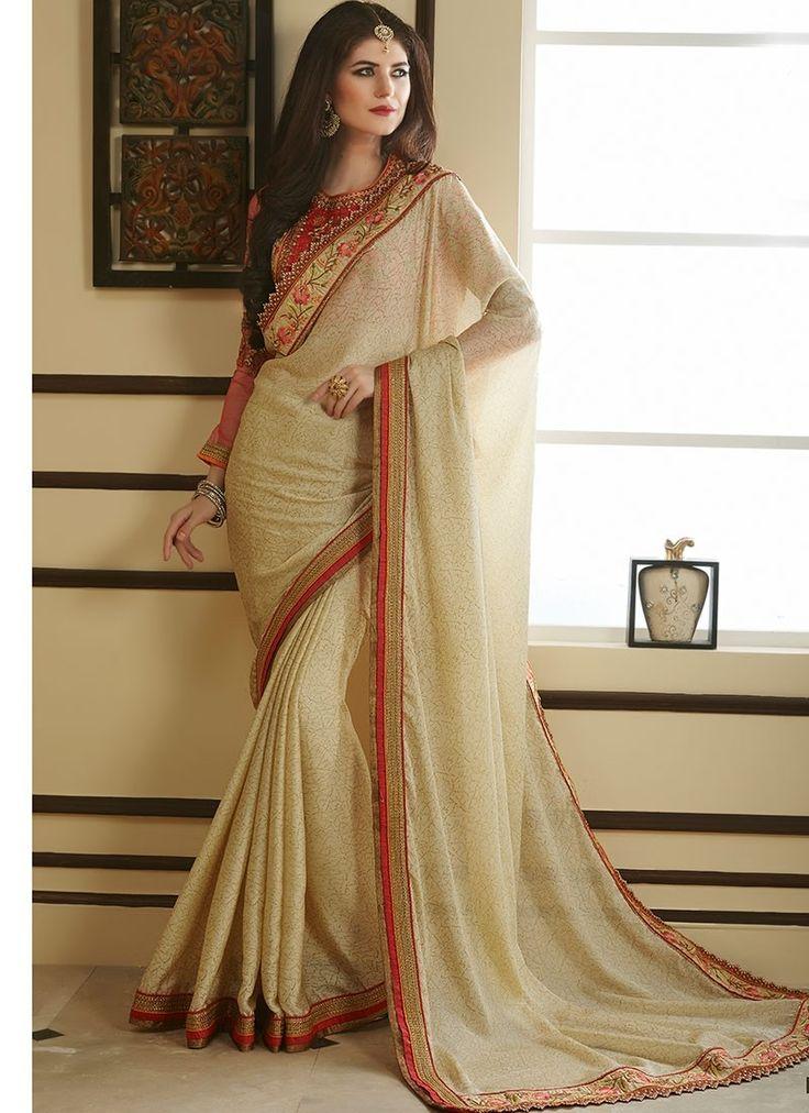 Shop Online Off White Georgette #DesignerSarees @Chennaistore.com