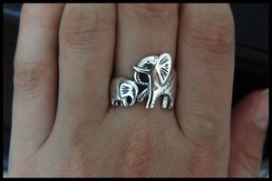 Baby and Mama Elephants Ring Love this. When found out I was pregnant, my then sister -in -law gave me a beautiful glass ornament that was an elephant with a baby elephant in its tummy!! So this makes me smile