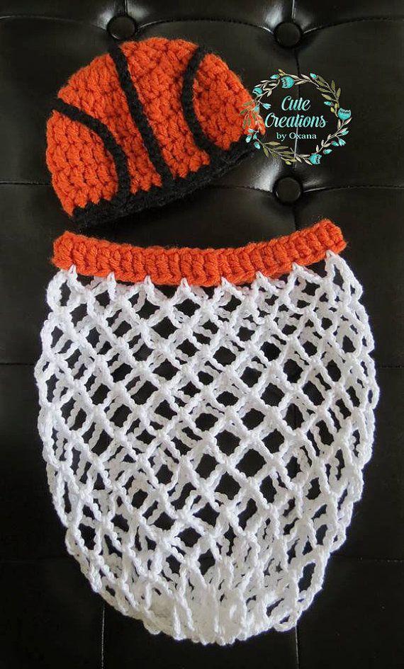 Made to order, Crochet Newborn Baby Basketball Photo Prop ...
