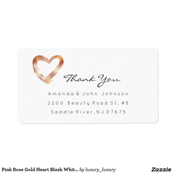 Pink Rose Gold Heart Blush White Custom Thank You Shipping Label