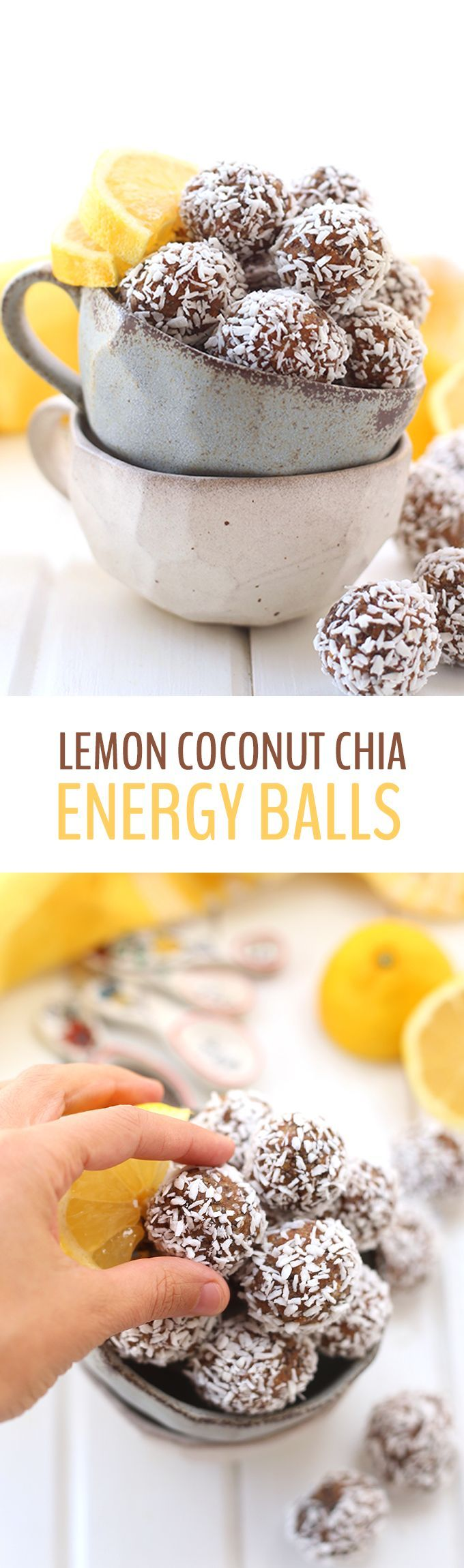 Bring together tart lemon with sweet coconut in these nutrition-packed Lemon Coconut Chia Energy Balls. These portable snacks help you curb your hunger when you need that 3:00 PM pick-me-up!
