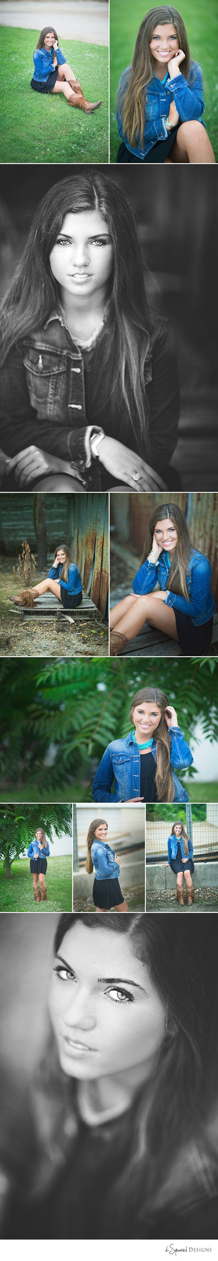 d-Squared Designs St. Louis, Missouri Senior Photography. Gorgeous brunette. Jean jacket with dress style. Cute boots. Senior girl photography. Senior girl posing. Senior inspiration.