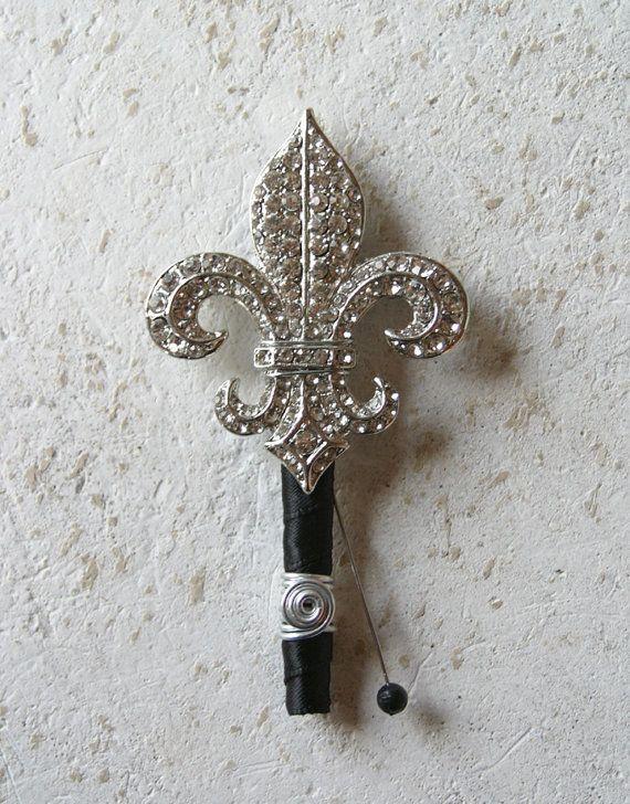 Fleur De Lis Brooch Grooms Boutonniere pin. Brooch Boutonniere. Crystal Fleur De Lis Broach New Orleans Wedding AccessoryJewelry on Etsy, $28.00