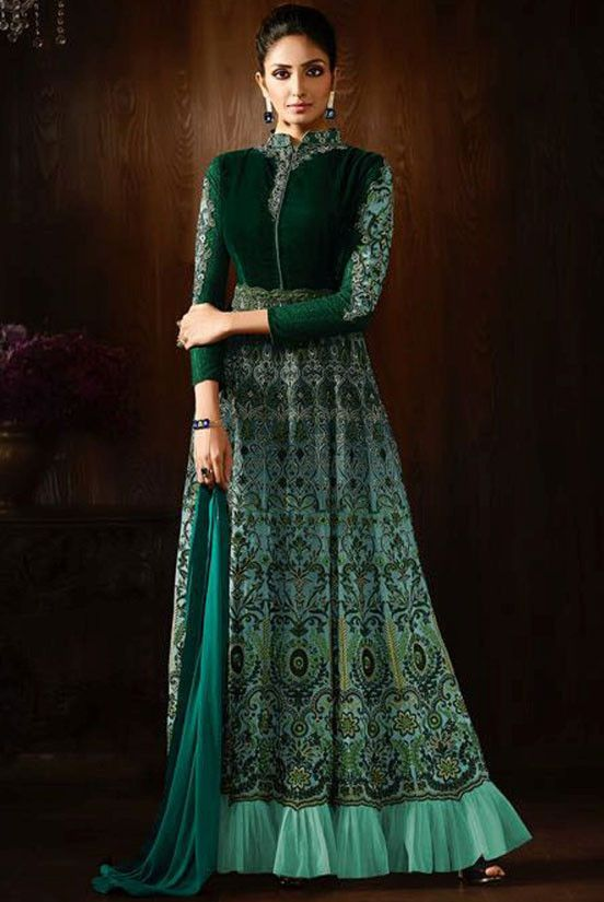 Beautiful Mint Green Designer Anarkali Suit