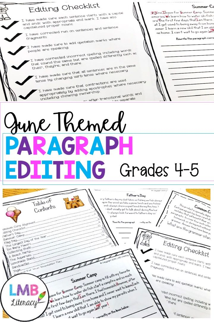 June Writing Paragraph Editing Worksheets For Grades 4 5