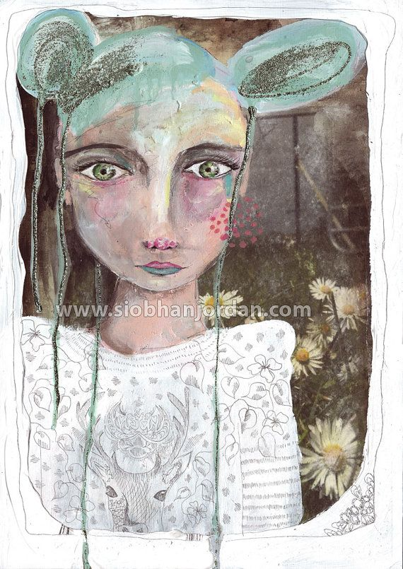Daisy Patch with Alice Original Art gift fine art by SiobhanJordan, €380.00