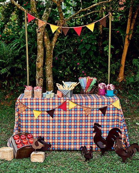 O arraial vai rolar no jardim da casa? Monte uma barraquinha e enfeite-a com toalha de mesa feita com tecido xadrez e bandeirinhas