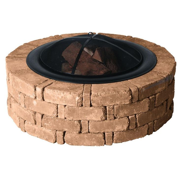 Pavestone 45.8 in. x 14 in. Rumblestone Round Fire Pit Kit in Sierra Blend... see review tips