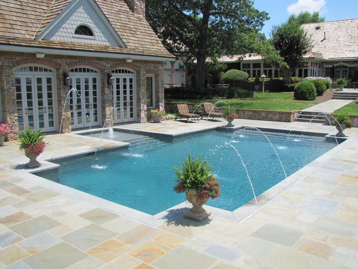 Blue Granite Pebble Sheen Pool Outdoor Kitchen Plus