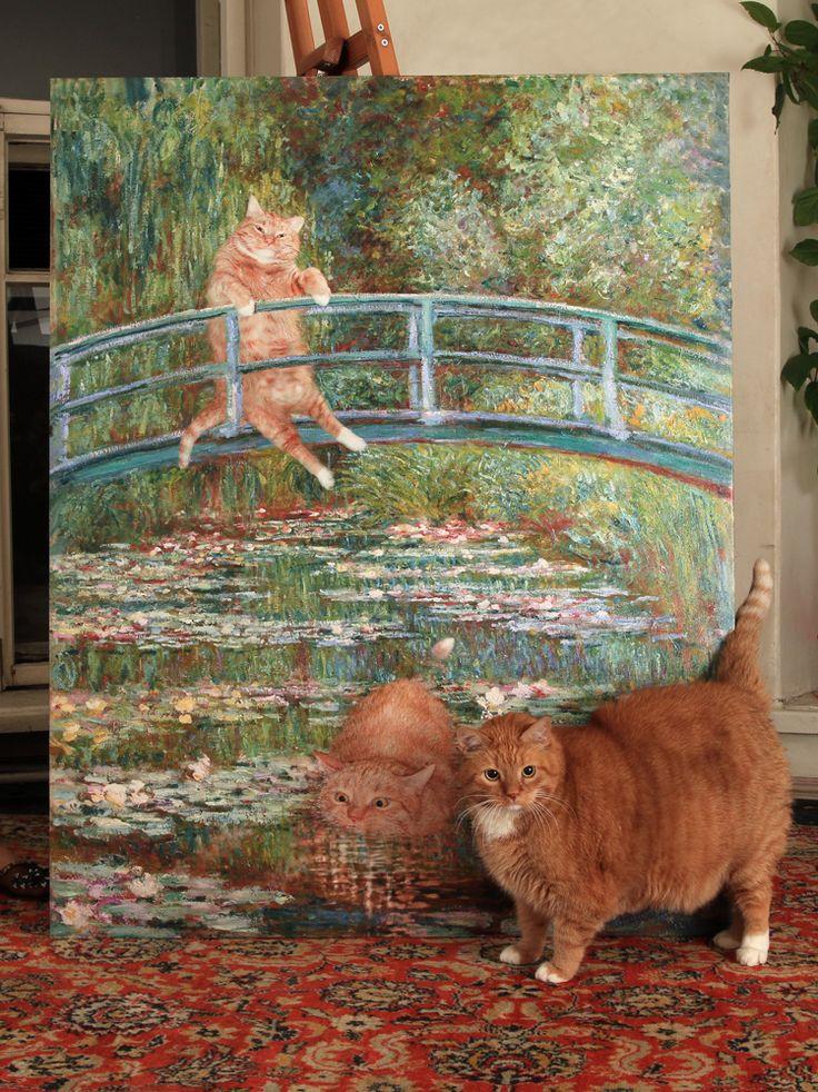 "fatcatartru: "" Zarathustra the cat with his life size portrait by Claude Monet """