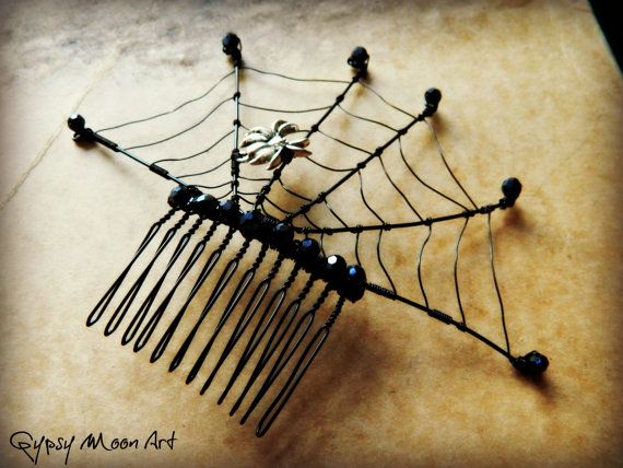 Spider Web Hair Comb. Black Spider Web Goth Hair by GypsyMoonArt