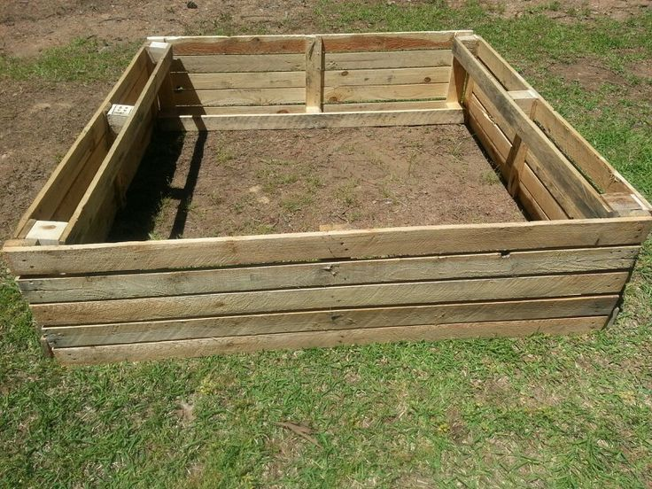Raised garden bed I made out of pallet wood. Pallets