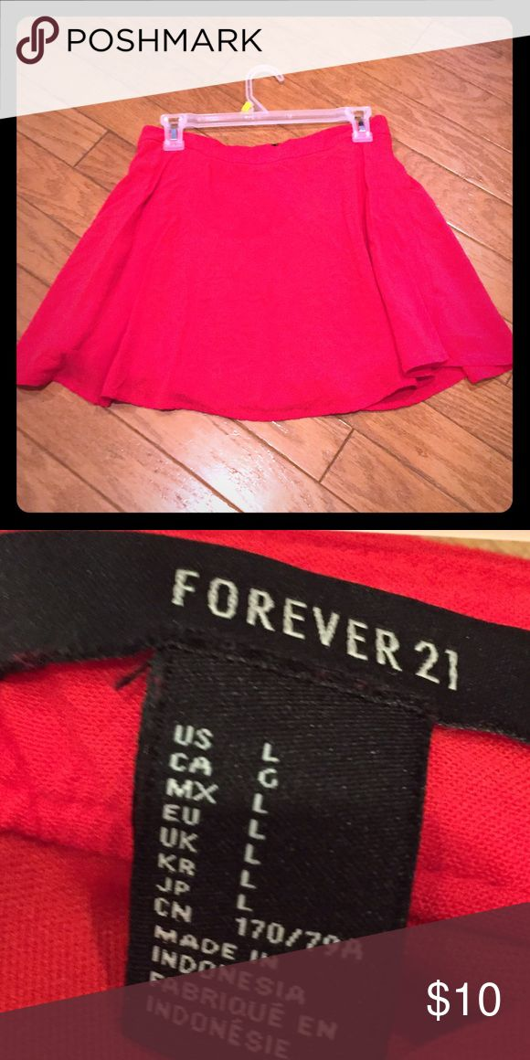 Forever 21 Red Zip Up Skater Skirt Size large from forever 21. Good Condition. Zips up in the back. Very soft material. Bundle 3+ items and get 20% off! ❤ Forever 21 Skirts Circle & Skater