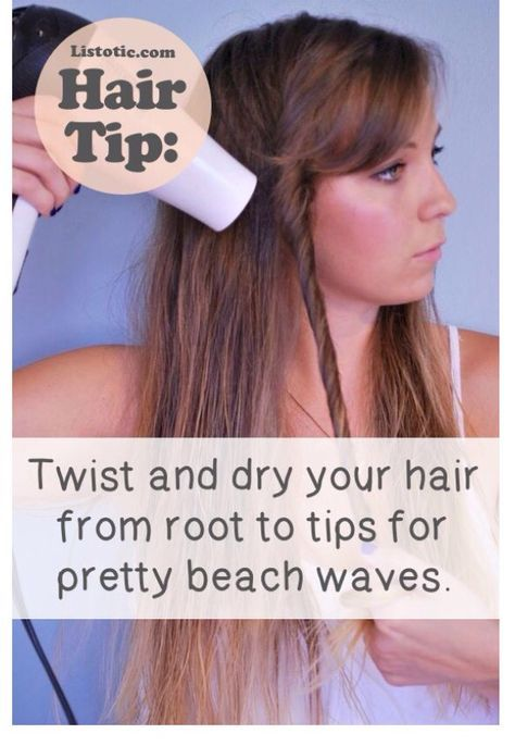 Twist and dry your hair for pretty waves.