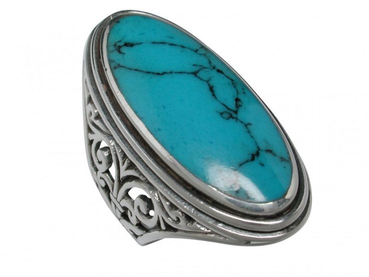 Sterling Silver 33mm Oval Blue Turquoise Filigree Ring