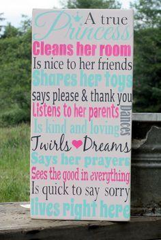 A True Princess, Hand Painted Sign, Little Girls, Pink, Girls Room, Princessâ?¦