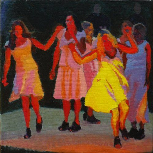 Wildly dancing figures in the firelight by Tom Henderson Smith. It's available as a print through http://www.hendersonsmith.co.uk/firelight_dancers_fun_at_the_plen.html . The original, now sold, is in acrylic on canvas measuring 25 x 25 cms. Click the picture or 'visit site' to access a link to its Artstack page where there are 'zoom' and 'view in room' facilities.