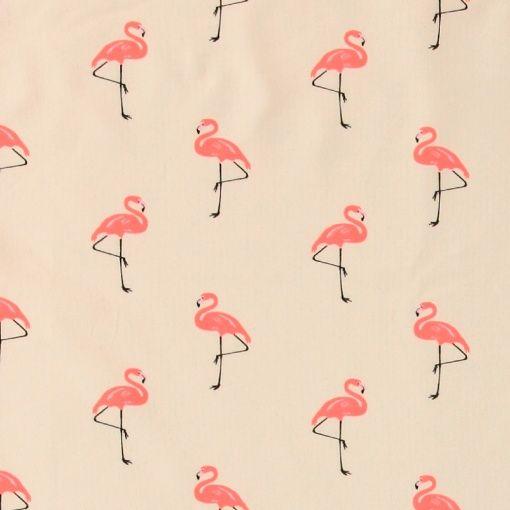 Stretch jersey natur med flamingo