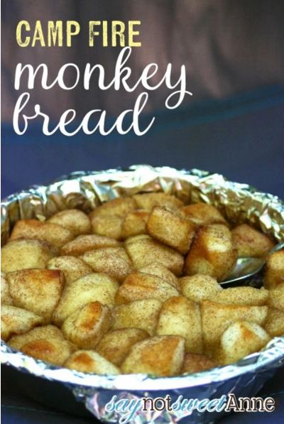 Bring your favorite monkey bread recipe to the outdoors by making it in an aluminum foil-lined Dutch oven.  Get the recipe at Say Not Sweet Anne.