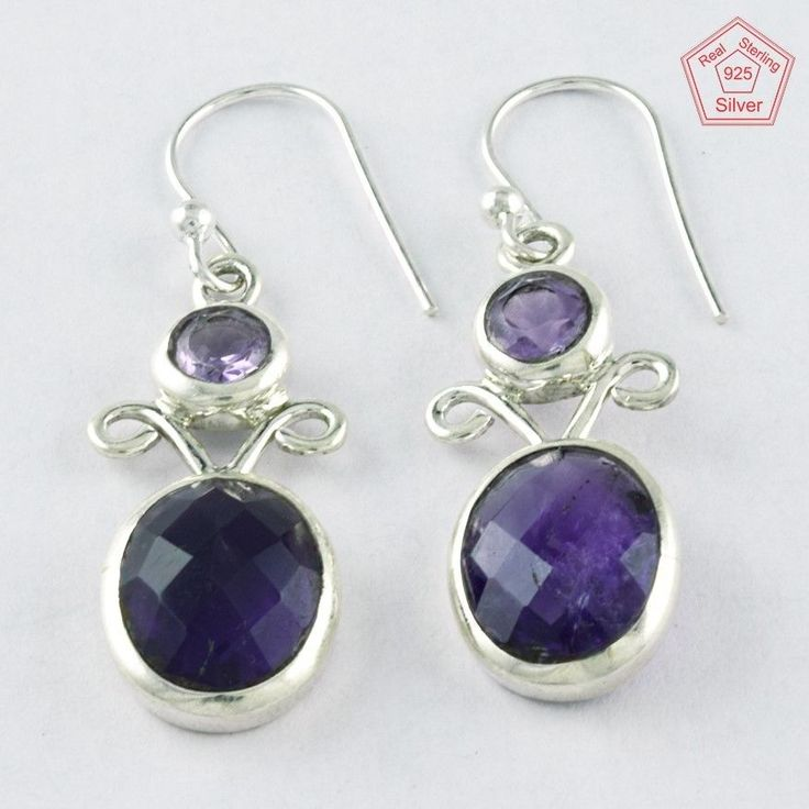 5.1 gm Silvex Images - 925 Sterling Silver Amethyst Stone Stylish Earring 3999 #SilvexImagesIndiaPvtLtd #DropDangle