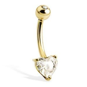 14K solid yellow gold belly button ring with heart-shaped stone and jeweled top ball. If you're looking for an outstanding piece of body jewelry that will get you noticed, this 14K solid yellow gold belly button ring is the perfect choice.  Accented with a faceted cubic zirconia heart and studded with a cubic zirconia stone in the ball, this belly button ring is luxurious.  A jewelry box is included with your purchase.Material: 14K solid goldcubic zirconiaGauge: 14 Type: belly button…