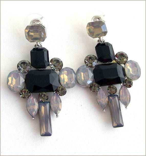 black grey Art-déco crystal Swarovski earrings Boucles