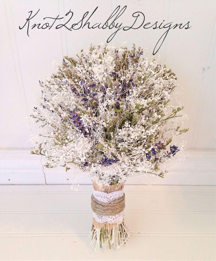 Babys breath bouquet  lavender bouquet  by Knot2ShabbyDesigns