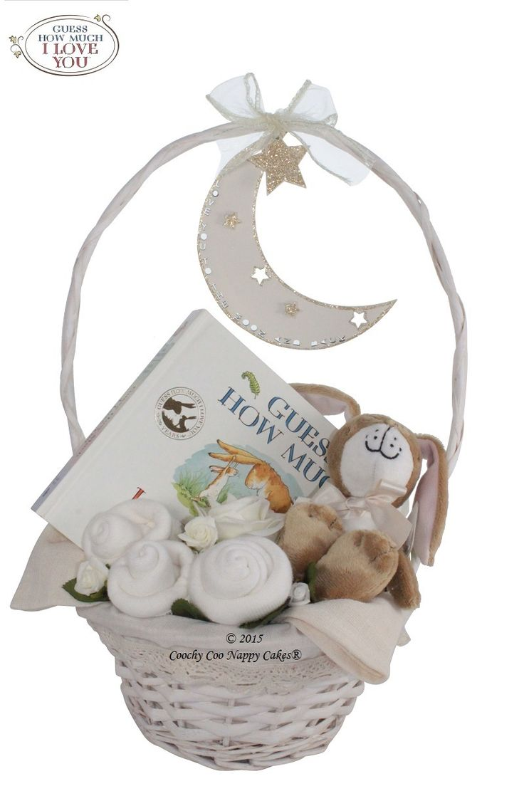 newborn baby gift basket.Official merchandise for Guess How Much I Love You baby gifts. Little nutbrown hare. I love you to the moon and back.