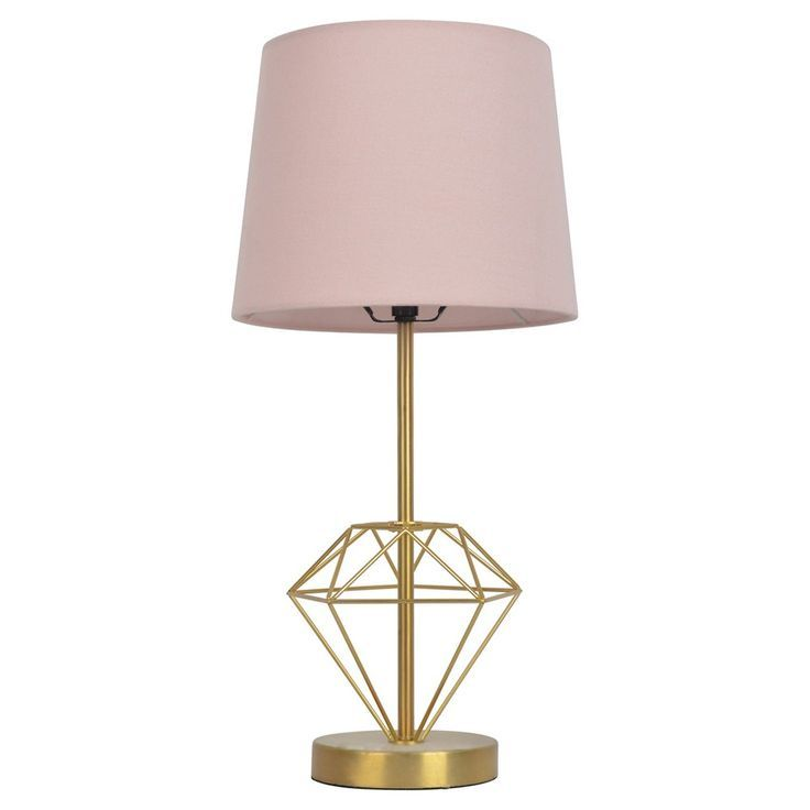 Wire Diamond Table Lamp Gold Includes Cfl Bulb Pillowfort Pink Gold Gold Table Lamp Table Lamp Gold Lamp