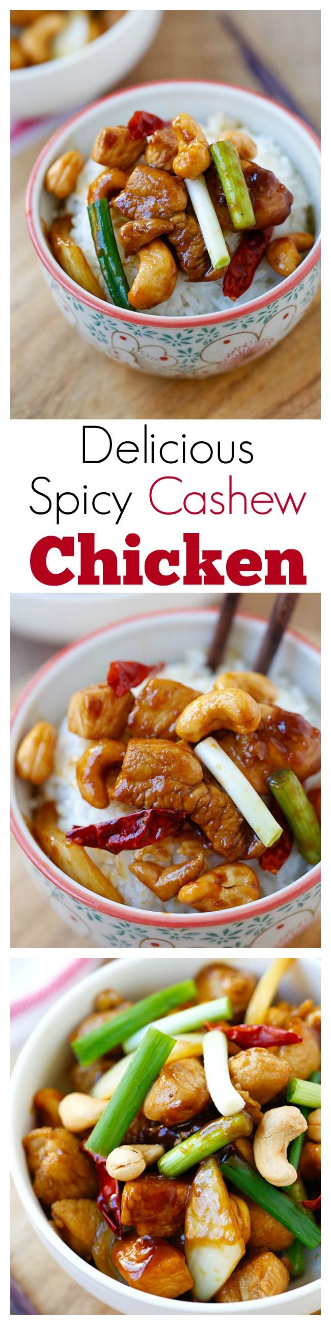 Spicy Cashew Chicken – easy and delicious chicken with cashew nuts with just the right amount of heat. Takes 20 mins to make and much better than takeout | rasamalaysia.com