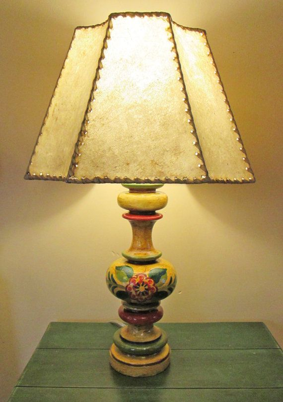 Overall Dimensions, 23 Ht X 14 W, Base Monterey Style Table Lamp Hand  Painted With A Genuine Rawhide Shade
