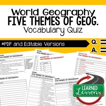 Five Themes Quiz Geography Assessment ➤Geography Map Quiz, Geography Assessment, Geography Test, Goes with World Geography MEGA Bundle Resources Also part of WORLD GEOGRAPHY MEGA BUNDLE