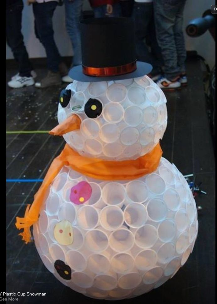 33 genius ways to reuse your k cups plastic cup snowman for Plastic snowman