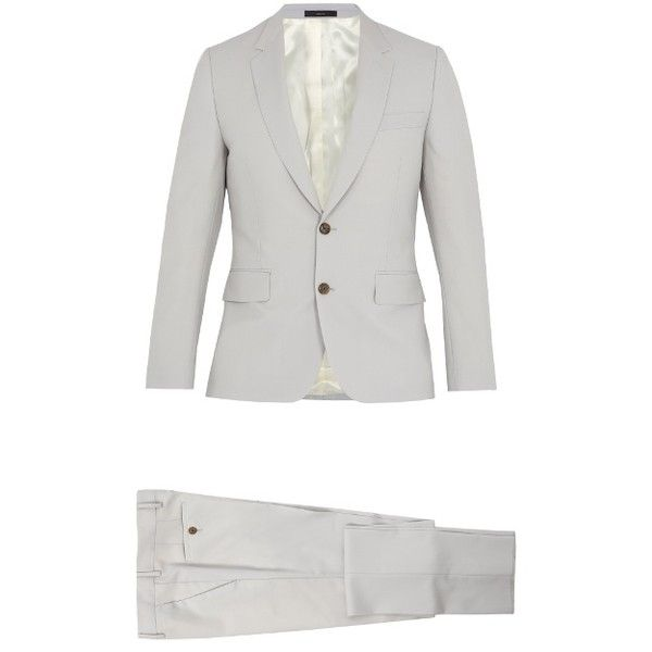 Paul Smith Soho-fit wool-blend suit (30.050 RUB) ❤ liked on Polyvore featuring men's fashion, men's clothing, men's suits, light grey, mens light grey suit, mens slim fit suits, mens slim suits, mens light gray suit and mens tailored suits