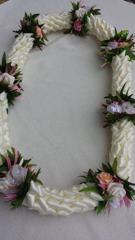 Hawaiian rose ribbon lei by AlohaRibbonCrafts on Etsy