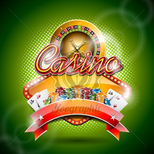 Vector illustration on a casino theme with roulette wheel and ribbon. EPS 10 design. - Royalty Free Vector Illustration