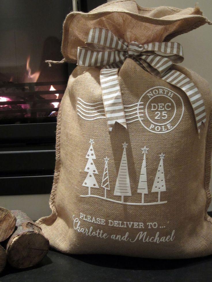 Janet Packer for Silhouette UK Christmas Santa sacks personalised with HTV