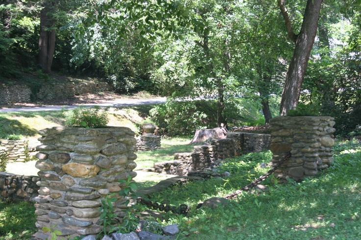 The ruins of the outdoor chapel and baptismal font.: Lake Junaluska, Outdoor Chapel, Baptismal Fonts, Camp Pine, North Carolina