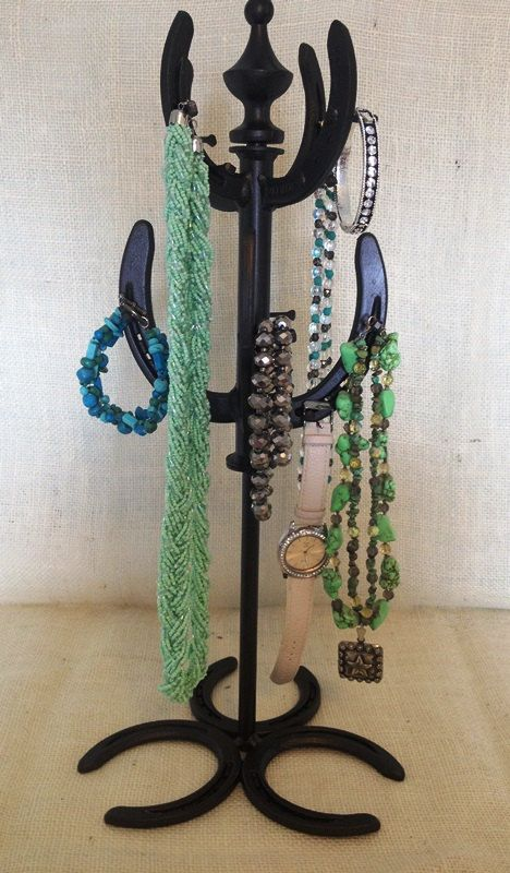 Two Tier Horseshoe Jewelry Rack by KatiesSpecialTouch on Etsy Upcycled Horshoes