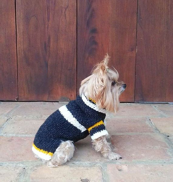 Turtleneck Dog sweater / 100% Pure Wool / Charcoal  by CasaLunaCo