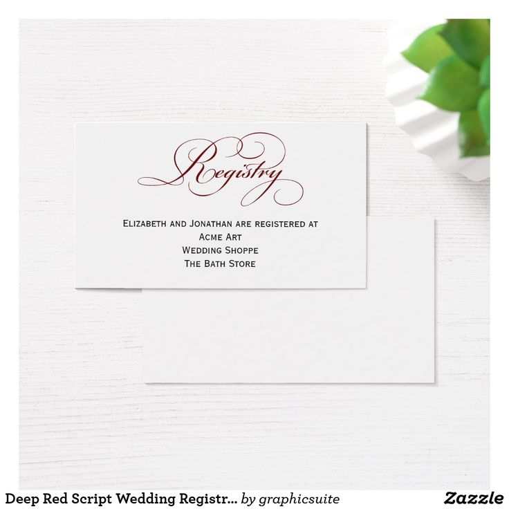 printable bridal registry list%0A Deep Red Script Wedding Registry Information Card
