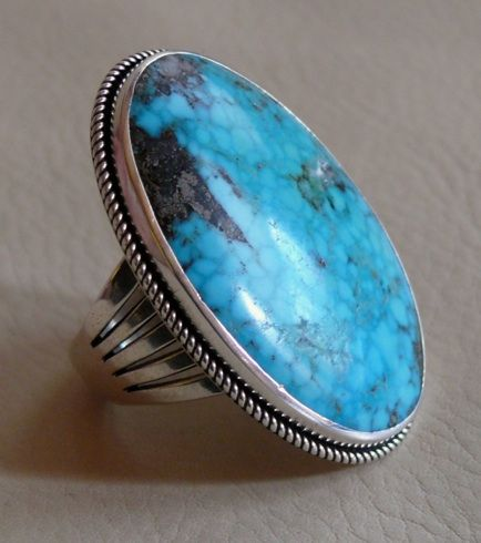 An exceptional, large, contemporary Navajo Silver and Kingman, AZ turquoise ring by Perry Shorty $2,200.00