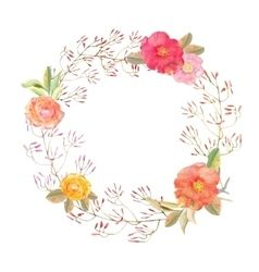 Vector image of Watercolor flower wreath background Vector Image, includes white, background, wallpaper, design & print. Illustrator (.ai), EPS, PDF and JPG image formats.