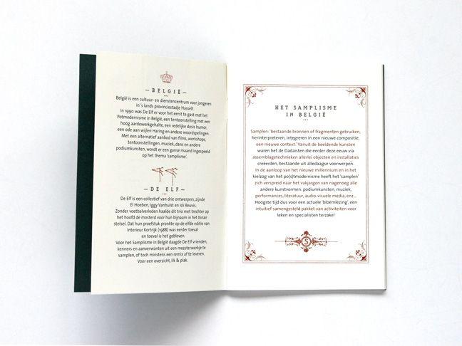 Samplisme: tentoonstellingscatalogus van ontwerperscollectief De Elf. Soort paspoort waarbij je de zegels kleeft, en de pagina's kan laten ondertekenen door de kunstenaars (tijdens de opening). 1999, Hasselt © www.grafiet.net