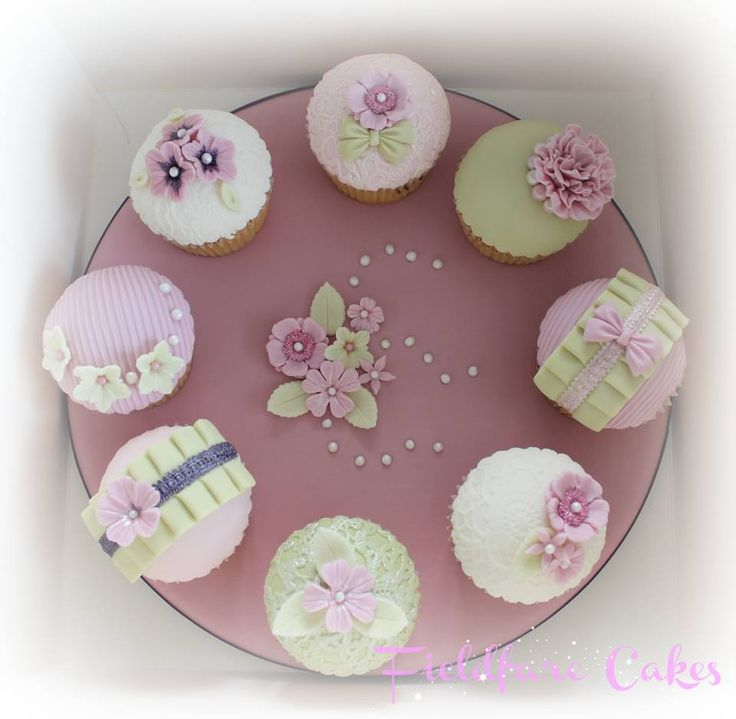 lilac and green cupcakes